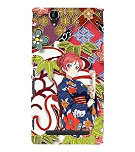 Fuson Premium Back Case Cover Cute Chinese girl With red Background Degined For Sony Xperia T2 Ultra::Sony Xperia T2 Ultra Dual