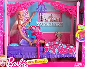 barbie glam bedroom playset w doll 4 poster