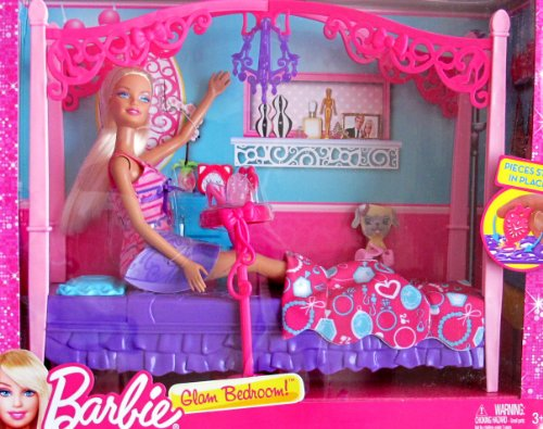 """Barbie Glam Bedroom Playset W Doll, 4 Poster """"Canopy"""" Style Bed & More! (2012) front-1063071"""