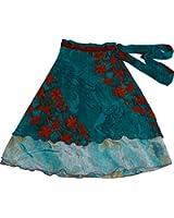 Wevez Two Layer Magic Wrap Around Skirt Dress Silk
