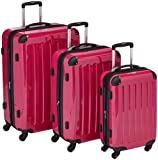 HAUPTSTADTKOFFER® · Three-piece hard-side suitcases Set MAGENTA high gloss · cabin luggage 45 liter (55 x 35 x 20 cm) + suitcase 87 liter (63 x 42 x 28 cm) + suitcase 130 liter (75 x 52 x 32 cm) · TSA combination lock