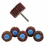 5 Piece 2x1 abrasive Flap Wheels Set -Finishing Sander- 1/4 Shanks Fit All Drills - 40 60 80 And 120 Grids - By Katzco
