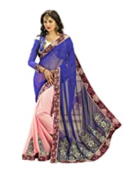 Admyrin Blue And Pink Georgette Saree With Blue Blouse Piece