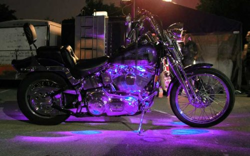 Uv Purple Motorcycle LED Neon Accent Lighting Kit with 10 Chrome LED Light Pods