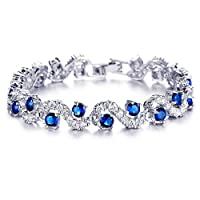 Yellow Chimes Rich Royal Blue Crystal High Grade Cz Bracelet For Women