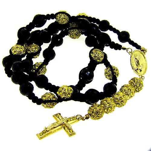 Luxury Shamballa Disco Ball Rosary Macrame Necklace Black & Yellow Iced Out Swarvoski Bling