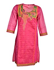 Global Women's Cotton Straight Kurta (GW11PinkL015, Pink, L)