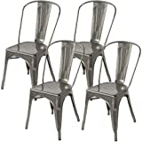 Lemoderno Galvanized Steel Side Chair (4, Gun Metal)