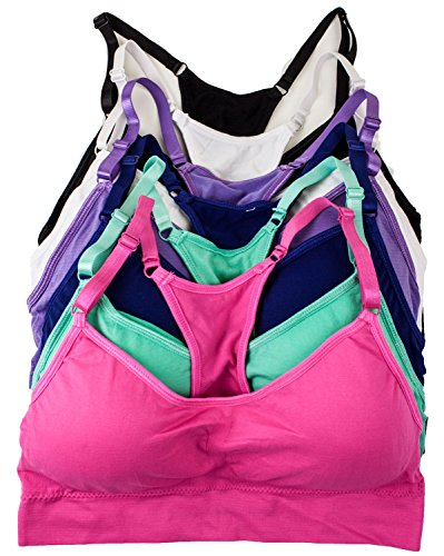 Barbra's 6 Pack Regular Size Wirefree Yoga Bras with Removable Pads