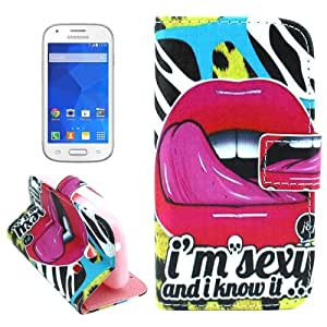 Crazy4Gadget Cross Texture Sexy Lips Pattern Leather Case with Holder & Card Slots for Samsung Galaxy Ace Style / SM-G310