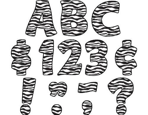 Teacher Created Resources Zebra Print Funtastic Font 4-Inch Letters Uppercase Pack (5375)