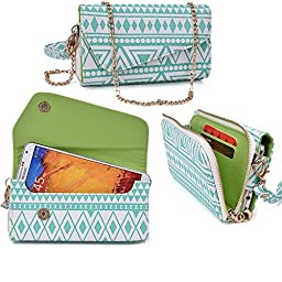 Women\'s Wristlet Clutch Spice Mi-535 Stellar Pinnacle Pro with Credit Card Holder & Removable Crossbody Chain| Tribal Aztec Mayan Pattern| White Teal Lime Crime + ND Cable Tie