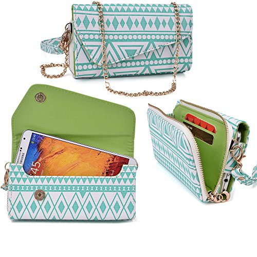 huawei-activia-4g-case-wallet-clutch-retro-teal-wristlet-and-crossbody-chain-aztec-tribal-pattern