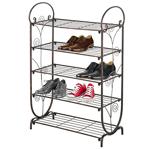 5-Tier Bronze Swirl Design Freestanding Metal Shoe Rack Storage and Organizer Shelf
