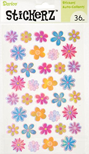 Darice 36 Piece Flower Sticker, Opalescent