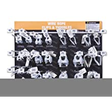 "Campbell DD0720166 67 Piece 15"" x 18.25"" Wire Rope Clips and Thimbles Display Assortment"