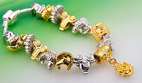 SaySure - 925 Silver Unisex Charm Bracelet With Animal Charm