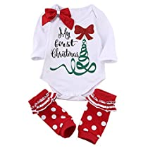 Newborn Baby Boys Girls Cute Xmas Romper Bodysuit Jumpsuit Pajamas Outfits