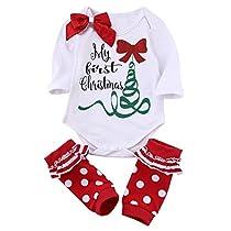 Newborn Baby Boys Girls Cute Xmas Romper Bodysuit Jumpsuit Pajamas Outfits