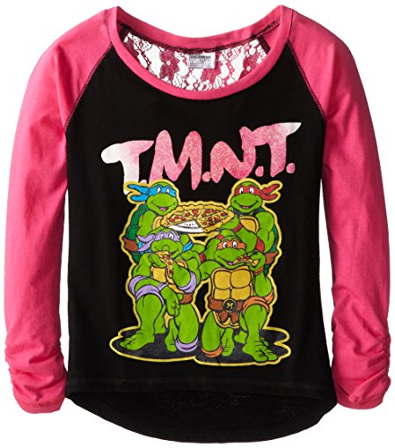 Teenage Mutant Ninja Turtles Big Girls' Tmnt Pizza Time Raglan Tee