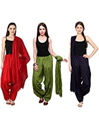Fashion Store Combo Of Womens Solid Cotton Red ,Green & Navy Blue Best Ethnic Comfort Punjabi Patiala Salwar Bottom...