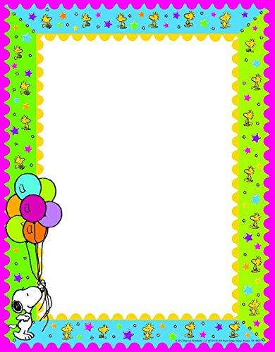 "Eureka Peanuts Birthday 8.5 x 11"" Computer Paper Frame, 50-Sheets"