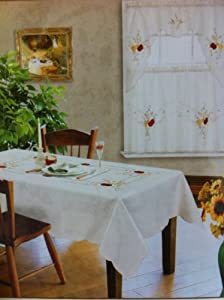 "Kitchen Dining Table Cloth Rectangle 54""x72"" 4 Chairs Tablecloth/cover Beige Red Apple & Pears"