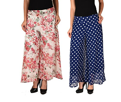 2DAY's Women Stylish Georgette Plazzo Floral and Blue Polka (Pack of 2)