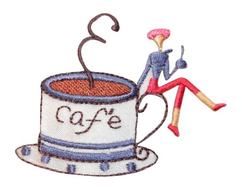 Id #9028 Cafe Lady With Coffee Cup Tea House Room Drink Iron On Applique Patch