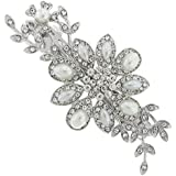 Anemone Flower Floral Pearl and Swarovski Crystal Bridal Hair Barrette French Clip Accessory