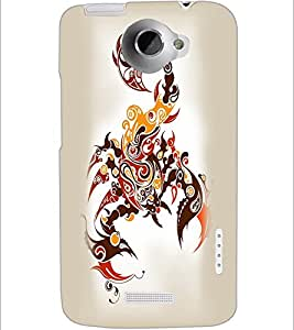 PrintDhaba scorpio D-1968 Back Case Cover for HTC ONE X (Multi-Coloured)