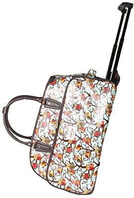 Retro Owl Print Wheeled Travel Trolley Weekend Cabin Bag