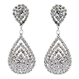 Bridal Wedding Jewelry Beautiful Dazzle Crystal Dangle Fashion 3D Earring Silver