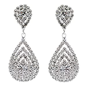 bfffd9df741666 Bridal Wedding Jewelry Beautiful Dazzle Crystal Dangle Fashion 3D Earring  Silver