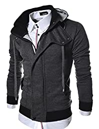 TheLees (LCJ8) Mens Casual Slim Fit Hood Cotton Jacket Charcoal US S(Tag size L)