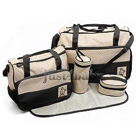 5pcs Baby Nappy BLACK Changing Bags Set