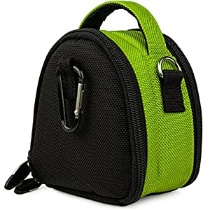 Mini Laurel Bag Pouch Carrying Case for Pentax Efina, Optio VS20, RZ18, RS1500, S1, RZ10, M90, W90, I-10, H90, E90, P80, WS80 Digital Camera + Screen Protector + Tripod Stand (Green)