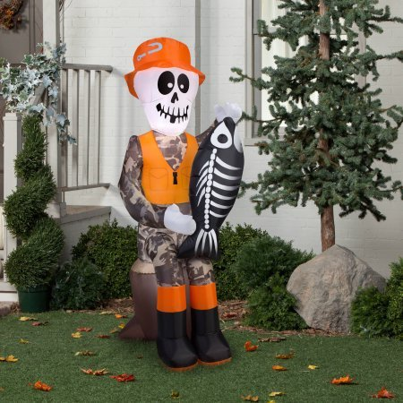 Gemmy Airblown Inflatable 5.5' X 2' Fishing Skeleton Halloween Decoration