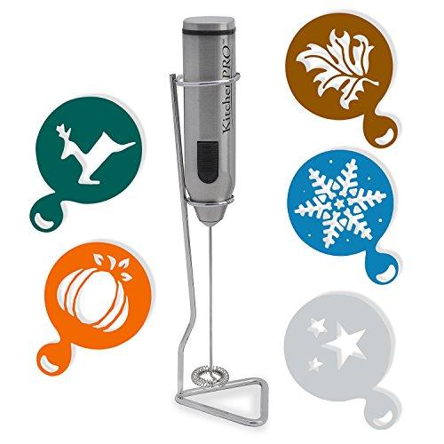 KitchenPRO スタンド付きカフェ用電動ミルク泡立て器 【自分で手軽にラテアートができる】 ミルクフォーマー+デコレーション用ステンシル 5種類