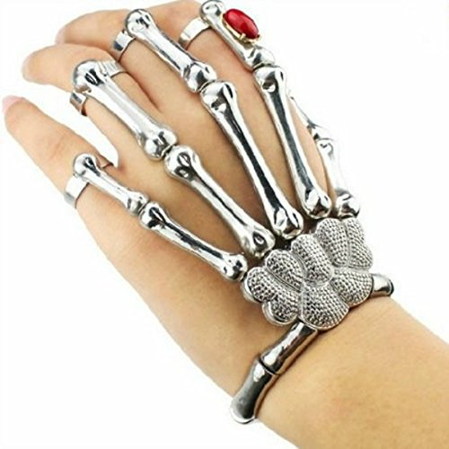 Cool Punk Rock Skull Bone Rivet Punk Rock Skeleton Skull Hand Bone Ring Bracelet (Silver)