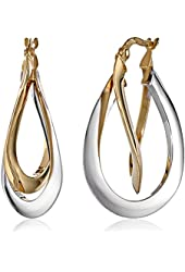 "14k Gold Two-Tone Double Crossover Hoop Earrings (1.4"" Diameter)"