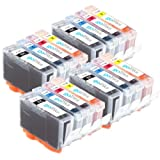 4 Compatible Sets of 4 Canon PGI-5 & CLI-8 Printer Ink Cartridges (16 Inks) - Black / Cyan / Magenta / Yellow for Canon Pixma iP3300 iP3500 iX4000 iX5000 MP510 MP520 MX700 iP4200 iP4500 iP5100 iP5200 iP5200R iP5300 MP500 MP530 MP600 MP600R MP610 MP800 MP