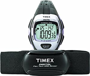 Timex Women's T5K731 Zone Trainer Digital HRM Flex Tech Chest Strap & Mid-Size Black/Silver-Tone Watch