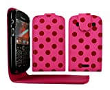Cellmax Blackberry Bold Touch 9900 Flip Protection Case Cover Skin Pouch With Solid Build In Phone Holder Housing Red Polka Dots Pink + Quality LCD Screen Scratch Protector + Free Microfibre Cleaning Cloth