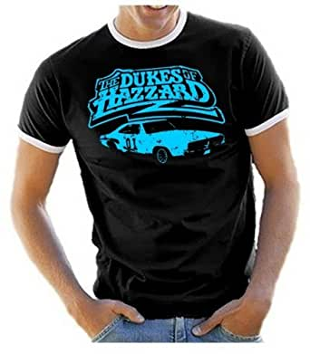 Coole-Fun-T-Shirts DUKES OF HAZZARDS- [German language] DRUCK IN BLAU ! Men's T-Shirt RINGER T-SHIRT black Size:S