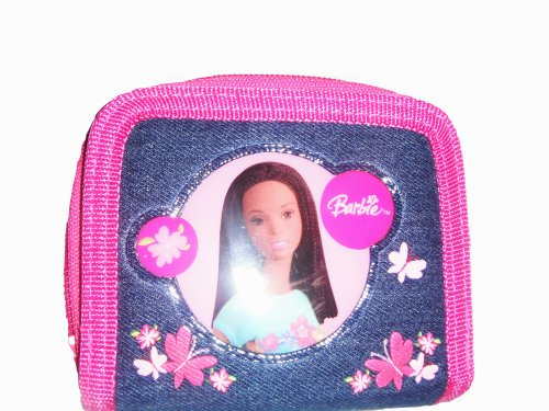 Barbie Two Fold Denim Pink Wallet with Coin Zipper and Butterflies - 1