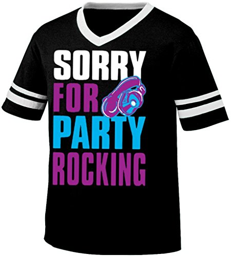 Sorry For Party Rocking Mens Ringer T-Shirt, Big And Bold Trendy Statements V-Neck Shirt, Small, Black/White front-842759
