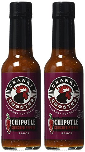 Cranky Rooster Gourmet Hot Sauces | CHIPOTLE Crushed Pepper Hot Sauce | Set of 2 | 5fl.oz (148 ml) each | KOSHER Certified | Gluten Free | 0g Trans Fat