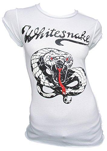 Amplified T-shirt da donna bianco Official Whitesnake Snake Serpente Rock Star Vintage bianco L