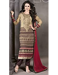 Designer Dress Material Gold Semi Stiched Straight Cut Salwar Kameez Suit.